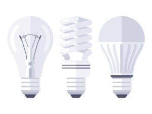 Incandescent, fluorescent and LED lamp