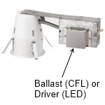 Recessed housing ballast or LED driver