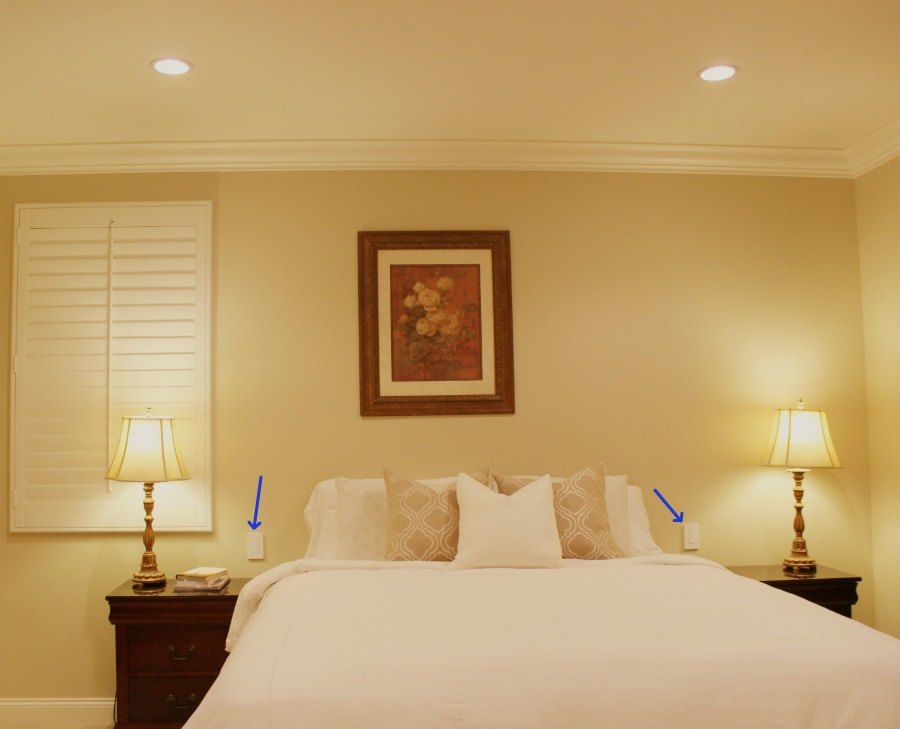 Wireless dimmers next to bed