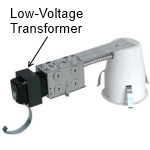 Low voltage recessed housing with transformer