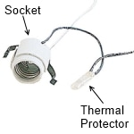 Recessed light socket and thermal protector