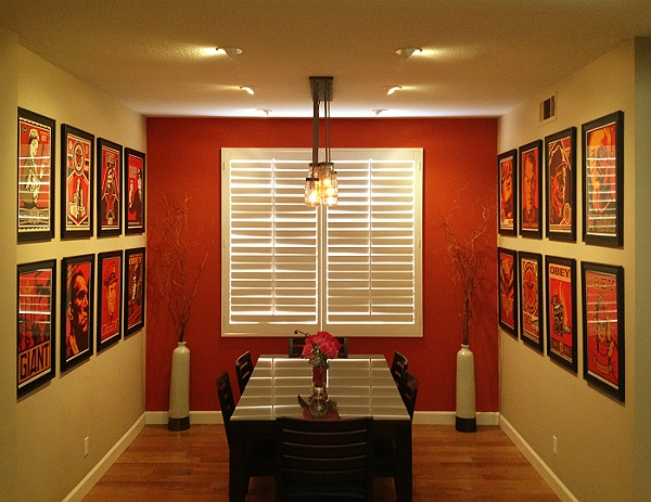 Recessed lighting wall of pictures