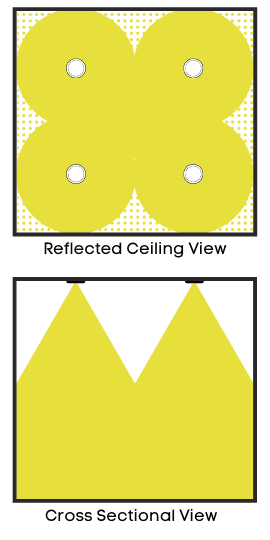 General lighting diagram with recessed lights