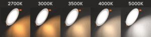 LED color temperature options