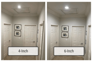 Comparison between 4-inch vs 6-inch recessed