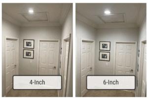 Comparison between 4-inch vs 6-inch recessed